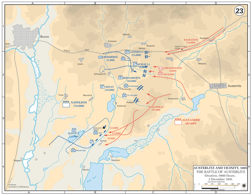 Battle of Austerlitz - Situation at 0900, 2 December 1805
