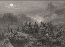 Black and white print shows several men standing around a cannon on a riverbank. Casualties are strewn about and a castle stands on a tall crag in the background.