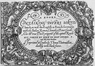 Thomas Vautrollier - Title page to Vautrollier's first publication in England, A Booke containing divers sortes of hands (1570).