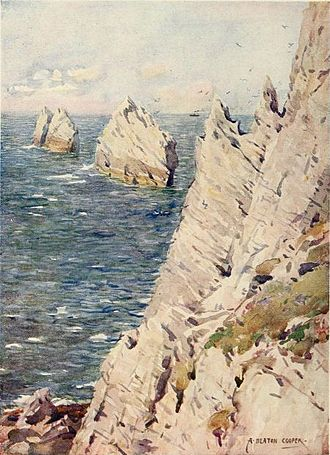 The Needles - The Needles - From the Beautiful Britain series, The Isle of Wight, by G. E. Mitton.