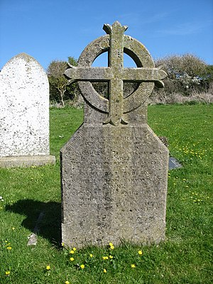 Morris Williams - His gravestone at St Rhuddlad's Church, Anglesey