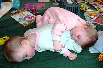 Photograph of eight month old fraternal twin e...