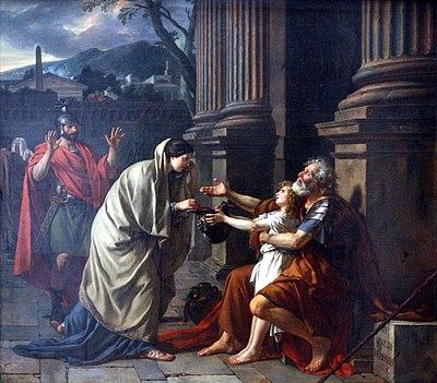 Belisario chiede l'elemosina, dipinto di Jacques-Louis David, 1781, Palais des Beaux-Arts de Lille. In molte culture e religioni dare l'elemosina ai poveri viene considerato un atto di altruismo
