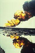 Bergan oil field fire