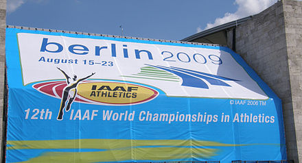The World Athletics Championships is the foremost athletics competition held by the governing body. Berlin 2009 - Olympiastadion.JPG