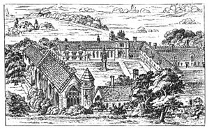 English: Line drawing of Bermondsey Abbey, England