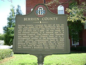 Berrien County, Georgia - Berrien County Historical Marker in front of the county courthouse