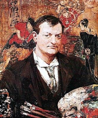 Edward Atkinson Hornel - Portrait of E.A. Hornel by Glasgow School contemporary Bessie MacNicol