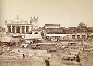 Chowk Bazaar - General view of the market place, 1885. Picture shows the Bibi Mariam Cannon