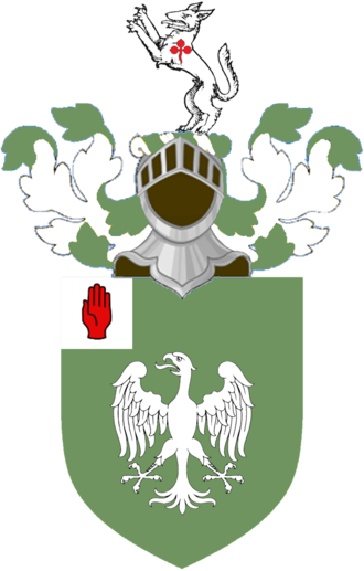 Biddulph baronets - Arms: Vert an Eagle displayed Argent a Canton of the second; Crest: A Wolf salient Argent charged on the shoulder with a Trefoil slipped Gules