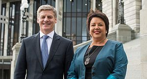 Bill English - English with Deputy Prime Minister Paula Bennett on the steps of Parliament, December 2016