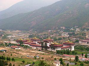 English: A bird's eye view of Thimphu, Bhutan ...