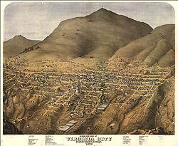 Vista de Virginia City alrededor de 1875.
