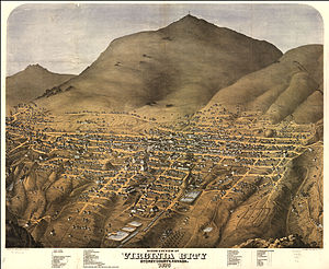 Virginia City, Nevada - Aerial map of Virginia City, c. 1875
