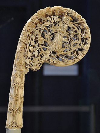 Olaf II of Norway - St Olaf with his axe on a bishop's crozier, walrus ivory, Norway c.1375–1400 (Victoria and Albert Museum)