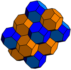 Bitruncation - A bitruncated cubic honeycomb - Cubic cells become orange truncated octahedra, and vertices are replaced by blue truncated octahedra.
