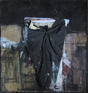 Combine painting - The artwork «Buksa mi» (my pants) by the Norwegian artist Bjørn Krogstad, from 1968, an example of combine painting