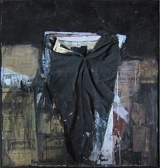 Combine painting - The artwork Buksa mi (My pants) by the Norwegian artist Bjørn Krogstad, from 1968, an example of combine painting