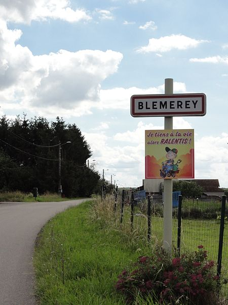 Blémerey (M-et-M) city limit sign