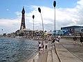 Blackpool promenade steps at high tide.jpg