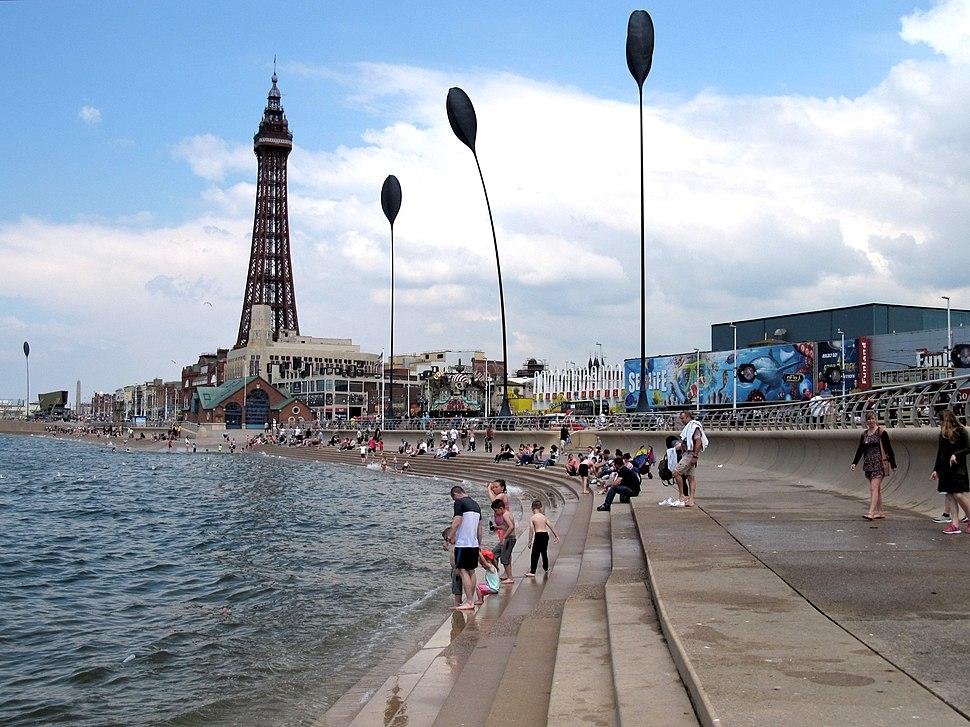 Blackpool promenade steps at high tide