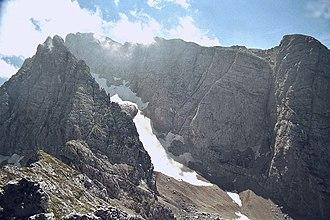 Hochkalter - Hochkalter and Blaueis glacier, seen from the Schärtenspitze