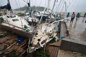 Cyclone Pam - Yachts wrecked by the storm in a harbour near Port Vila, Vanuatu