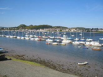 River Conwy - Boats in the river estuary at Conwy