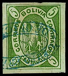 Bolivia 1867 5c yellow green Condor with blue oval town cancel..jpg