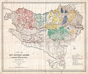 Basque dialects - Louis-Lucien Bonaparte's original 1866 map of Basque dialects.