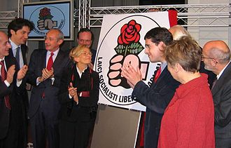 Italian Radicals - Launch of Rose in the Fist (2006). In the center, from left to right: Enrico Boselli, Emma Bonino and Daniele Capezzone.