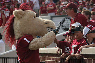 Boomer and Sooner - Sooner, the costumed mascot of the University of Oklahoma.