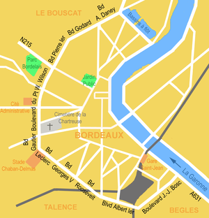 Stade Chaban-Delmas - Location of the Stade Jacques Chaban-Delmas in Bordeaux (at left, in pink, along the boulevard Leclerc).
