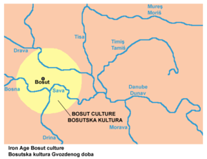 Gradina on Bosut - Map of the territorial extent of the Bosut culture