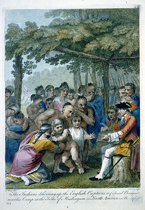 Captives in American Indian Wars - Because many children taken as captives had been adopted and assimilated into Native families, their forced return following Pontiac's Rebellion often resulted in emotional scenes, as depicted in this engraving based on a painting by Benjamin West.