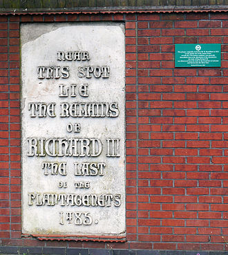 Exhumation and reburial of Richard III of England - Plaques on Bow Bridge, Leicester, relating to the story that Richard's bones had been dumped into the River Soar. The small plaque was installed by the Richard III Society in 2005 to refute the statement on the larger plaque, installed in 1856.