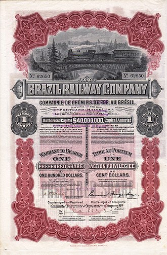 Percival Farquhar - Preferred Share of the Brazil Railway Company, issued 13. October 1910; signed by Presidenten Percival Farquhar