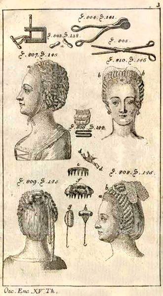 Hair iron - historical image of hair irons (top)