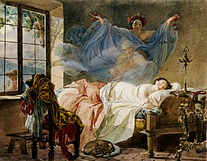 Dream - A Dream of a Girl Before a Sunrise by Karl Bryullov (1830–1833)