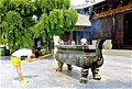 Bronze incense censer in front of Buddhist temple, Xi'an.jpg
