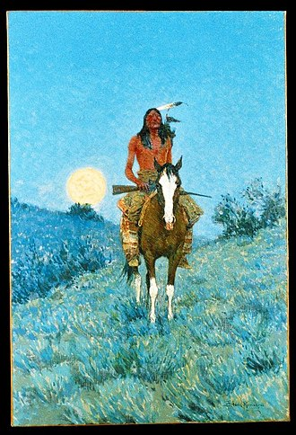 Great Sioux War of 1876 - An Indian warrior. Painting by Frederic Remington.