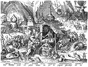 Pieter Bruegel's depiction of Greed