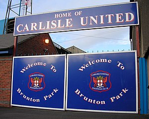 Welcome sign at Brunton Park, home of Carlisle...