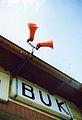 Buk railway station, megafony.jpg
