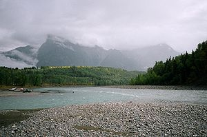 Skeena River - The Bulkley River (left) flowing into the Skeena River (right) near Hazelton