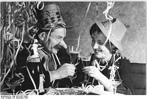 New Year's toast, Germany, 1953
