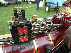 Steam dome - 1:2 model of a Burrell single-crank compound traction engine. Note the Ramsbottom safety valve mounted on top.