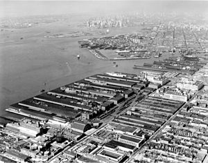 Industry City - Bush Terminal in 1958, looking north. Lower Manhattan is seen in the distance