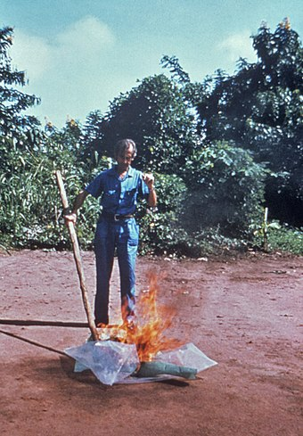 A CDC worker incinerates medical waste from Ebola patients in Zaire in 1976. CDC worker incinerates med-waste from Ebola patients in Zaire.jpg