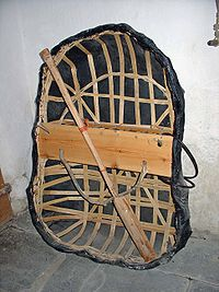 A typical River Teifi coracle in Manordeifi Old Church